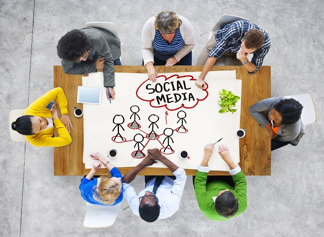 People in a Meeting and Social Network Concept