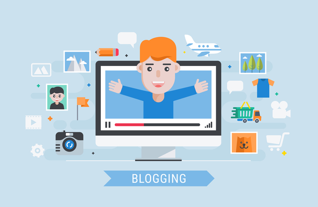 Blogging. Man blogger. Flat modern vector illustration.