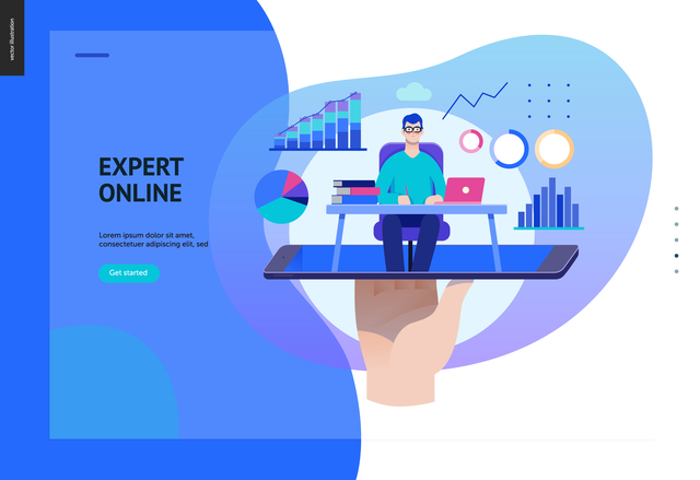 Business series, color 2 - expert online consulting -modern flat vector illustration concept of consultant online from smartphone. Consulting interaction process. Creative landing page design template